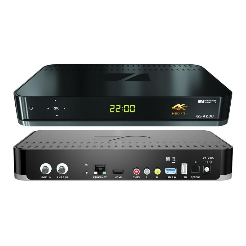 Цифровой двухтюнерный приёмник для приема «Триколор» Ultra HD (4K) GS A230